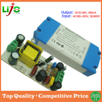 ac180~265v input (12-18)w 300ma 42-60Vdc output dimmable led driver with plastic cover for led driver control
