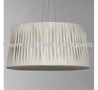 UL Listed Big Drum Pendant Light With White Drape Shade For Dining Room C30006