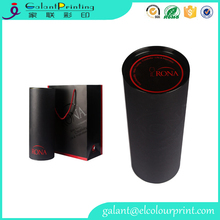 luxury black color round cardboard package tube wine box with handled paper bag