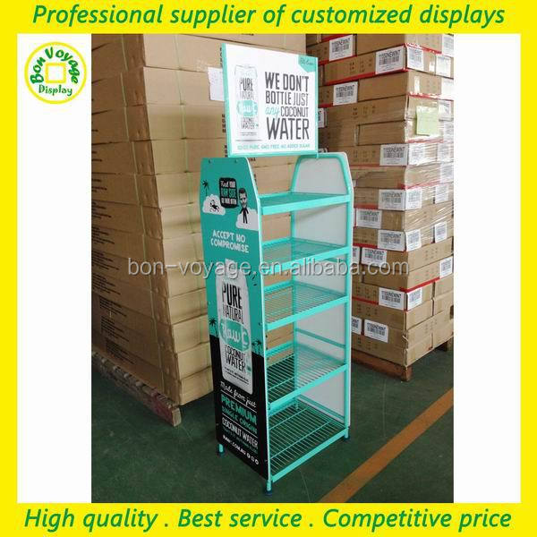supermarket free standing metal wire merchandise portable product display rack