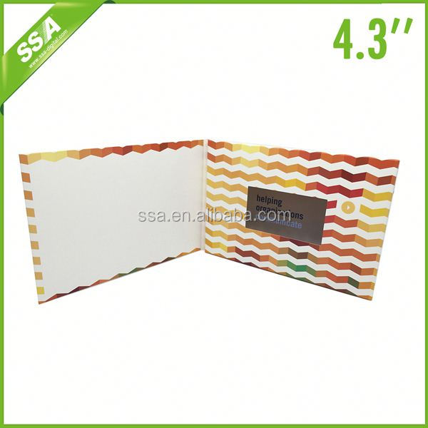 provide Promotional 4.3 video greeting cards recordable with 128MB memory USB for present