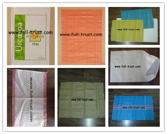 PP Woven Bags with Green Edge
