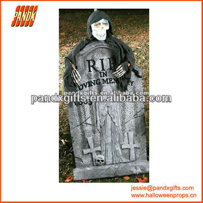 POLYFOAM LIGHT UP TOMBSTONE WITH GHOST FOR GRAVEYARD PROPS