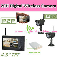 2CH Digital wireless security dvr with IR-cut filter embedded