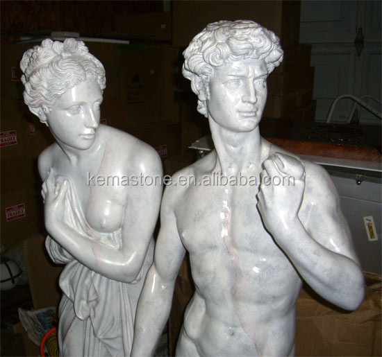 Marble Nude Man and Woman Statue