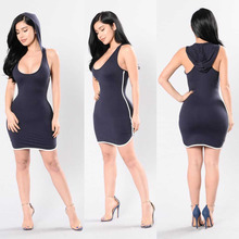 no name clothing wholesale Scoop Neck Contrast Side Stripe Racerback Fancy Sexy Hoodie Dress