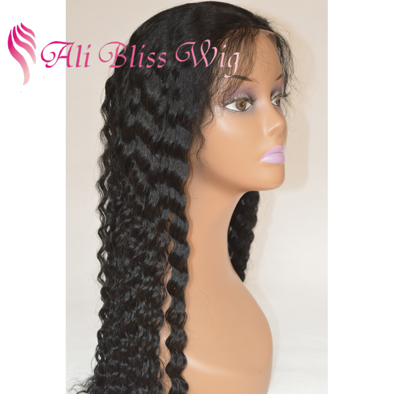 18 Inch Cheap 100% Natural Virgin Eurasian Deep Wave 100 Human Hair Full Lace Wig with Baby Hair for African American