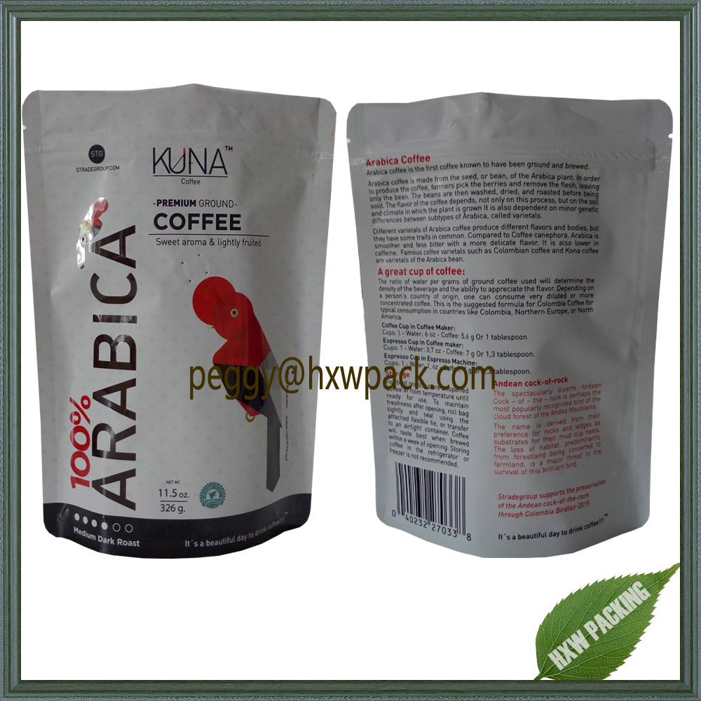 Matt finished laminated foil coffee bean bags with partial UV printing, 11.5oz stand up Arabica coffee bean bags with valve
