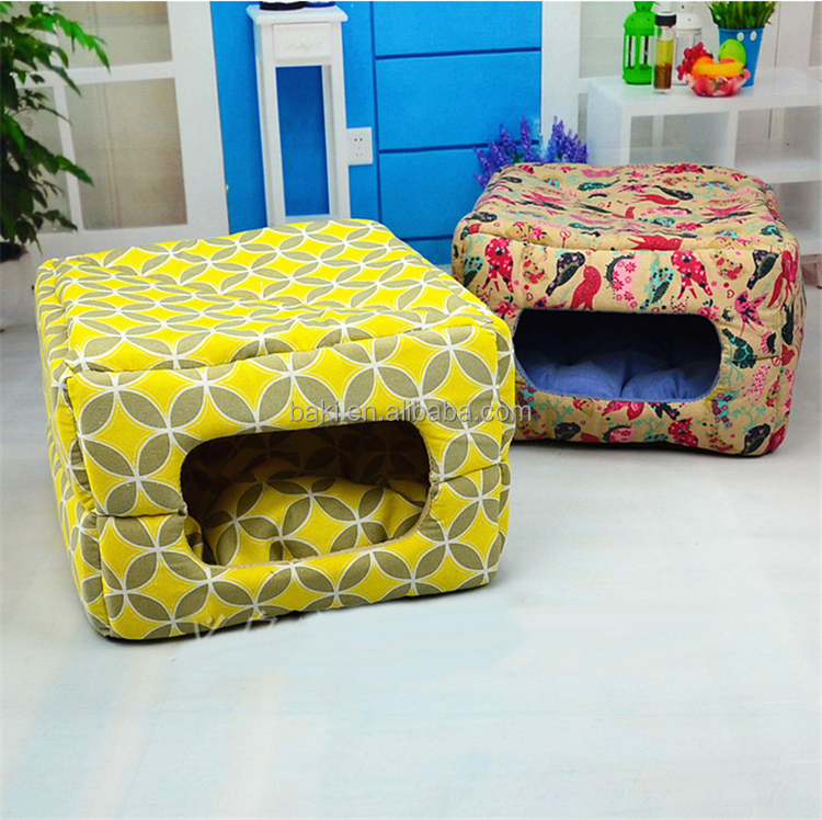 Fashion Square printed waterproof canvas fabric dog house