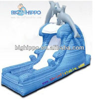 inflatable super dolphin bouncy slide with pool for kids