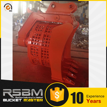 High capacity rotating screen bucket excavator for