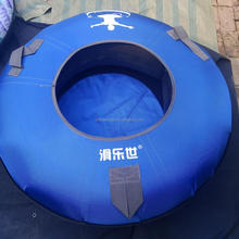 ski area nylon canvas cheap rubber heavy duty pvc inflatable towable hard bottom circle ski snow sled tubes for adult