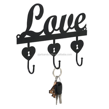 Metal Wall-mounted Love Shape Towel Clothes Hanging Rack Hooks Key Hanger