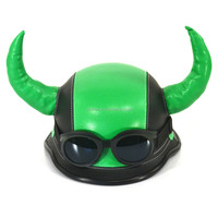 Green color Viking Norse Raider Helmet with Horns Medieval Roman Gladiator Party Hat wholesale HT2468