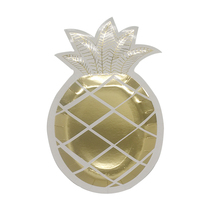 Attractive price unique pineapple shape printed gold paper plate disposable