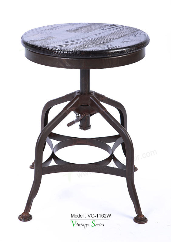 Triumph Wood Round Tuner Stool/ Antique Toledo Bar Stool/ industrial style commercial bar stools
