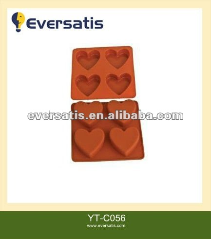 4pcs cup heart shape silicone chocolate molds