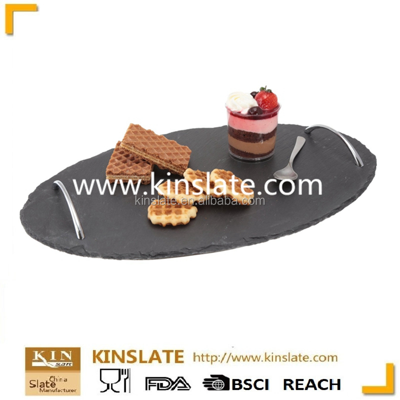 Quality and Quantity Assured Natural Black Slate Cheese Tray with Laser Design (Customized)