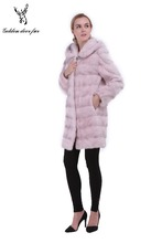 The pink long horizontal stripe real mink fur coat