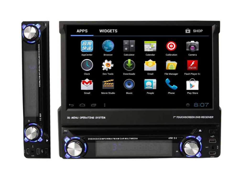 Android 41 7inch strong single/strong din strong car/strong strong dvd/strong with gps 3g wifi ipod bluetooth rds