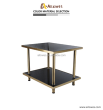 Stainless steel tea table glass tea table design