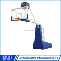 Most Safe Design FIBA Standard Electro Hydraulic Full Size Basketball Stand With Adjustable Height(EN1270 Inspected)