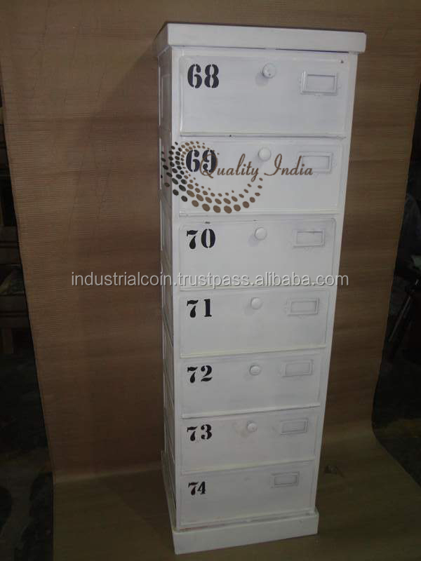 Seven Drawers White Color Side Cabinet