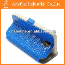 Crocodile skin stand leather case for samsung galaxy s4 with S view