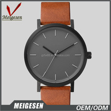 High quality 2016 Miyota movement watch men leather fashion simple watch