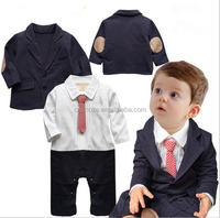 Z51840B children gentleman design baby casual suit with european style long sleeve suit fashion boy clothing set infant romper