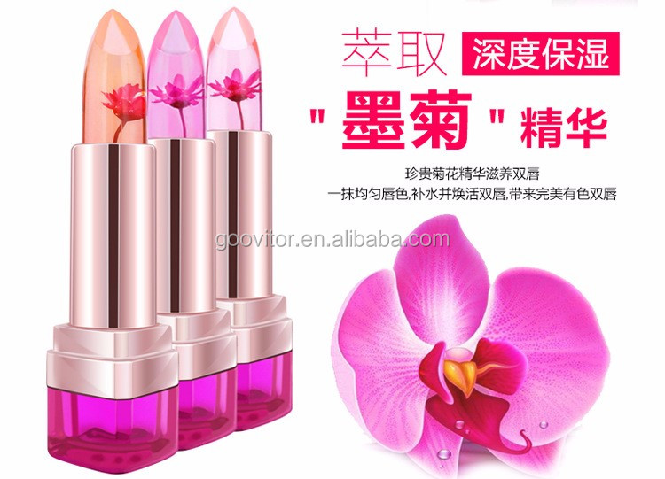 Jelly Flower Lipstick Lip Gloss Transparent Moisturizer Makeup Nonstick Cup Discoloration Temperature Changed Makeup Beauty