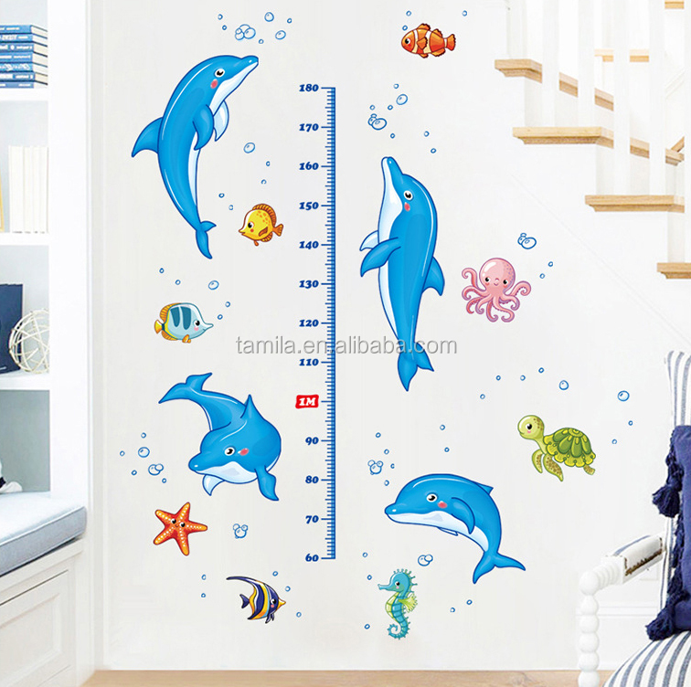 kids cartoon dolphin growth chart stickers/kids height measurement wall stickers