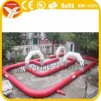 Inflatable Race Car Circuit for karting games, cheap kids inflatabale karting track