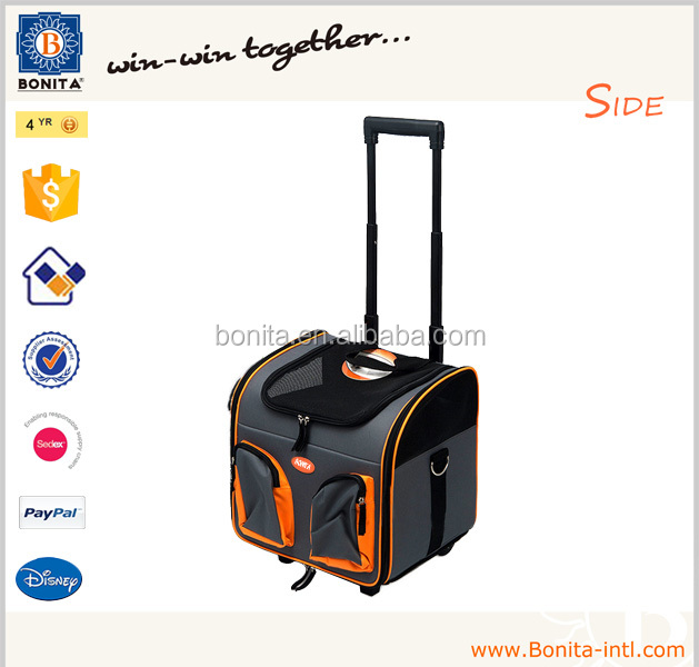 Wholesale dog trolley carrier cat trolley pet carrier bag with wheel