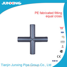 HDPE fabricated fittings / pe water pipe fittings equal cross