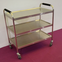 Stainless Steel Kitchen Trolley Handle Commercial Food Cart