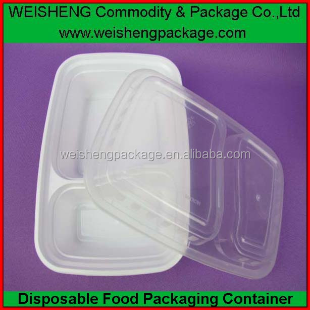 Retail Microwave pp clear plastic disposable food container with two compartments for take away