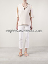 Ivory Color Loose Silk Lady Top/Blouse