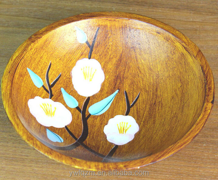 Beautiful flower painted wooden dinner plate