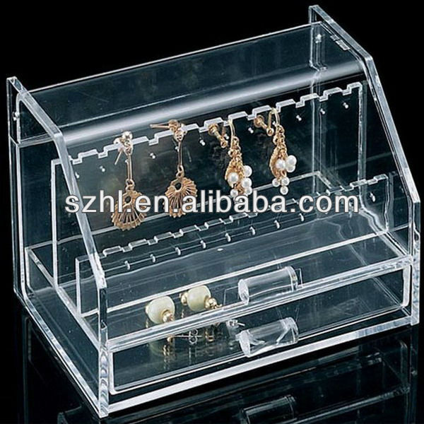 Clear acrylic earring display box with lock
