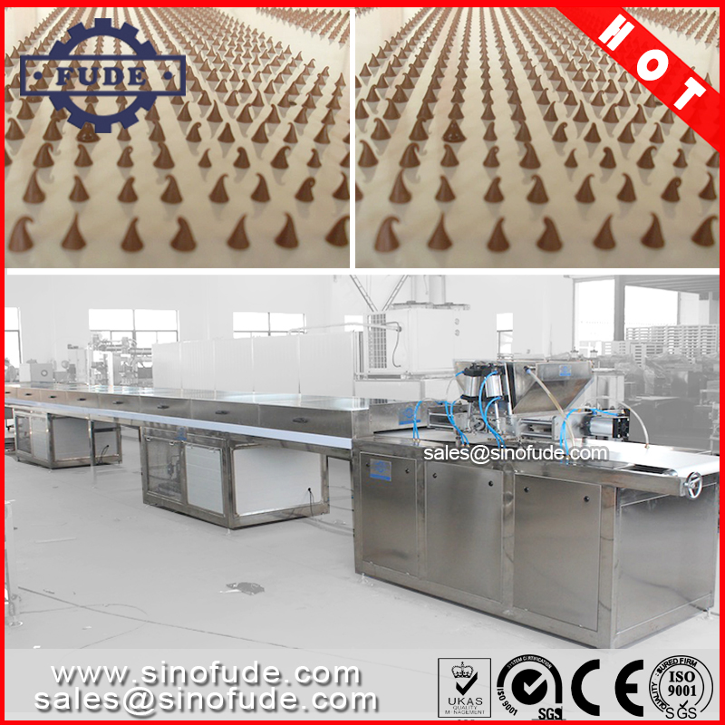 chocolate chips drops depositing machine with cooling tunnel
