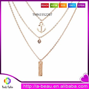 New Fashion 2015 Heart Shape Crystal Anchor Charms Three Layered Necklace TMN1552207