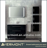 modern black colored bathroom cabinet