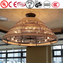 JLC-2015 large size crystal pendants beige led ciling light modern for hotel lobby