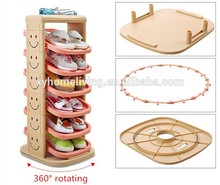 Folding 6-10 Layers Tall Plastic 360 Degrees Rotating Shoe Rack