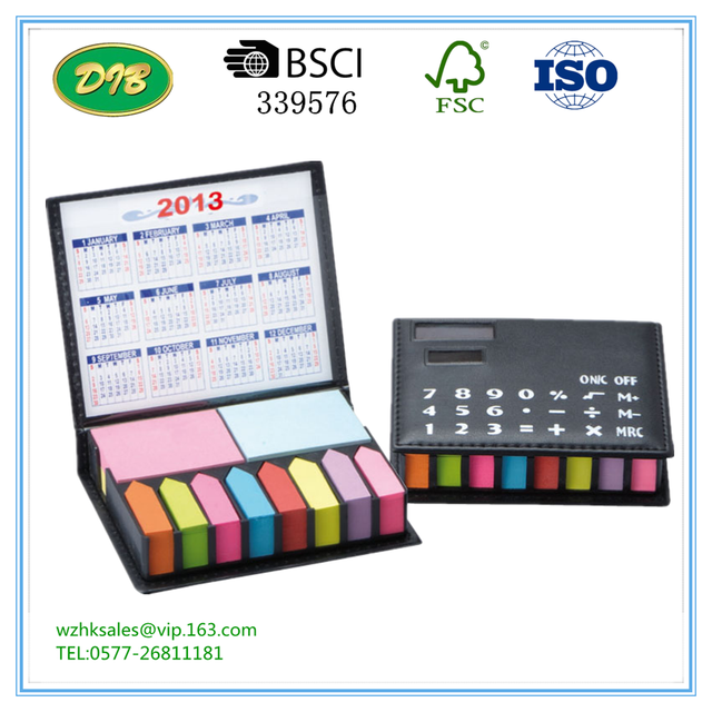 PU leather cover sticky Box with Calculator