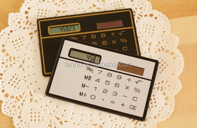 Hot Cute Ultra-thin Mini Card Solar Energy Calculator Fashion Portable Slim Solar Power Pocket Calculator For Office Student