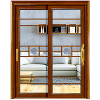 European style double opening sliding holy design aluminium doors frosted glass insertion with aluminium strip