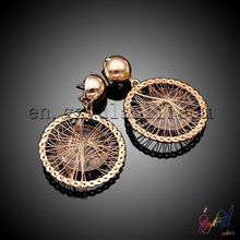 Gold earrings designs for girls bicycle tyre shape gold earrings gold plated earring
