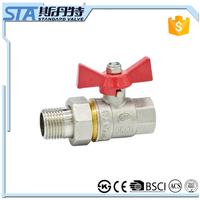 ART.1020 Male/female threaded butterfly aluminum handle for water manual power plastic pipe link double union brass ball valve